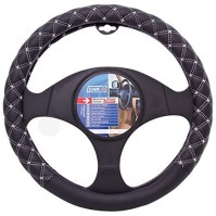 Empire Car Steering Wheel Cover Glove Real Leather Black White Stitching 37-38cm