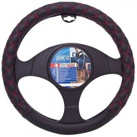 Empire Car Steering Wheel Cover Glove Leather Look Black Red Stitching 37-38cm