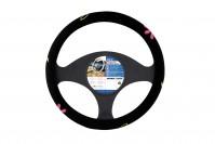 Velvet Car Steering Wheel Cover Glove Black Pink Flower Power 37-39cm Universal
