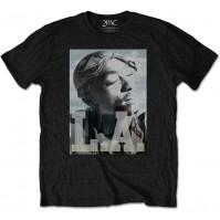 Tupac Official LA Skyline Mens Black Short Sleeve T-Shirt Shakur Retro Vintage
