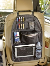 Car Black Back Seat Rear Travel Organiser Storage Tidy Tablet Bottle Holder