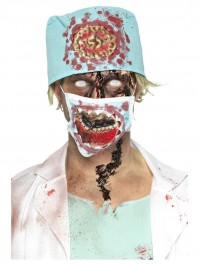 Zombie Surgeon Blue Hat And Face Mask Kit Fancy Dress Accessory