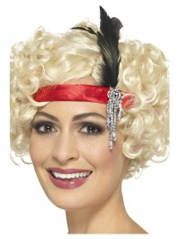 Red Satin Charleston Headband With Black Feather Fancy Dress Accessory