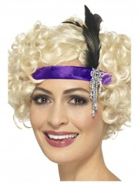 Purple Satin Charleston Headband With Black Feather Fancy Dress Accessory