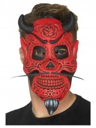Adults Day Of The Dead Red And Black Devil Mask Fancy Dress Accessory