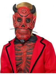 Child's Day Of The Dead Red And Black Devil Mask Fancy Dress Accessory