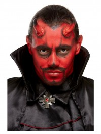 Devil Horns With Red And Black Face Paint Make Up FX Accessories Kit