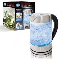 Quest Stainless Steel and Glass LED Cordless Kettle 1.7 Litre 2200W Fast Boil