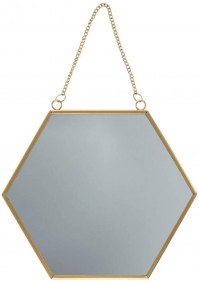 Gold Hexagon Mirror Glass Monochrome Wall Hanging Chain Link Metal Frame