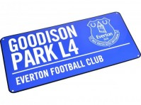 Everton FC Goodison Park And Crest Blue Coloured Hanging Metal Street Sign