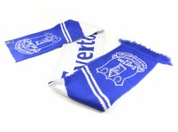 Everton Football Scarf Jacquard Vertigo Design Club Blue White Badge Official