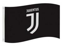Juventus Football Club Official Black Large Flag White Logo Crest Badge