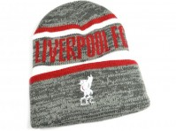 Liverpool FC Whitaker Grey, Red And White Crest Turn Up Beanie, Ski Hat