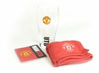 Manchester Man Utd FC Football Club Mini Bar Set Glass Towel Coasters Official