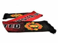 Manchester United Football Club Speckeled Scarf Jacquard Knit Badge Official