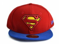 New Era Baseball Cap Blue Red Superman 59Fifty 7 1/4 Visor Fitted Cap DC Comics