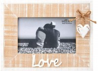 Natural Wood Rustic White Washed Love Heart Picture Photo Frames Landscape