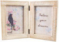 Double White Wood Follow Your Dreams Photo Picture Frame Standing Portrait