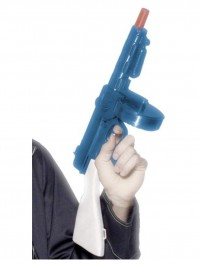 Gangsters Tommy Gun With Sound Blue And White Fancy Dress Accessory