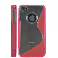 S-Line Wave Silicone Gel Case Cover for Apple iPhone 4 4G in Pink / Clear