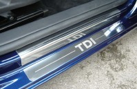 "Volkswagen Golf Mk 6 3 Door Hatch (2009 - Early 2013) 4 x Tailored Chrome Door Sill Protectors With ""TDI"" Engraved Upper And Lower Sills"