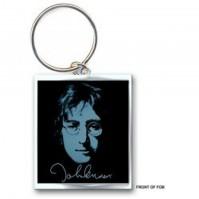 John Lennon Photograph Portrait Image Metal Keychain Keyring Silver Fan Official