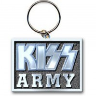 KISS Army Block Name Logo Image Silver Metal Keychain Keyring Fan Gift Official