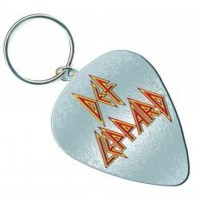 Def Leppard Band Logo Guitar Pick Metal Silver Keychain Keyring Gift Official