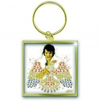 Elvis Presley American Eagle Square Metal Keychain Keyring Fan Gift Official