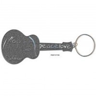 John Lennon Peace Love Guitar Image Metal Keychain Keyring Silver Fan Official