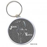 John Lennon Yoko Ono Embrace Image Metal Keychain Keyring Gift Silver Official