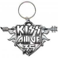 KISS Alive 35 Tour Chrome Logo Picture Image Metal Keychain Keyring Official