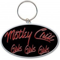 Motley Crue Girls Girls Girls Black Red Logo Metal Keychain Keyring Official