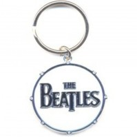The Beatles Drop T Logo Circle Metal White Keychain Keyring Fan Gift Official