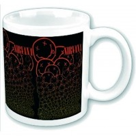 Nirvana Cascading  Smiley Faces Black Red Coffee Mug Boxed Official Fan Gift