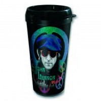 John Lennon Beret Photo Black Plastic Vacuum Travel Coffee Mug 100% Official