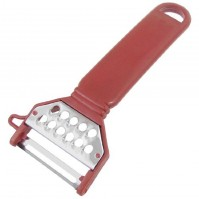 Stainless Steel Blade Red Plastic Flat Grater Handle Vegetable Peeler
