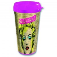 Madonna Celebrate Yellow Pink Plastic Vacuum Travel Coffee Mug 100% Official