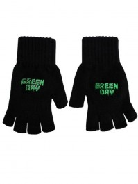 Green Day Black Fingerless Gloves Band Logo Punk Rock Knitted Cotton Official