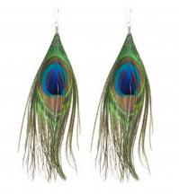 """Pair Peacock Feather Earrings 6"""" Womens Girls Ladies Costume Jewellery Drop Hang"""
