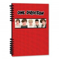 1D One Direction Spotty Notepad Journal Jotter Band Photo Red White Fan Official