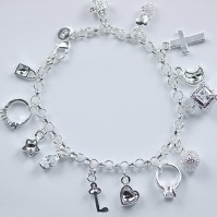 lady Gift 13 Charms Jewelry Solid Silver Girl Bangle/Bracelet S925