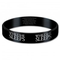 While She Sleeps Black Wristband Gummy Rubber Bracelet Band Logo Name Official