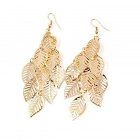 Pair Of Gold Leaf Leaves Long Dangle Drop Earrings Fashion Jewellery By AoE Performance