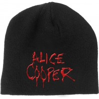 Alice Cooper Official 3D Embroidered Dripping Logo Black Beanie Hat Mens Ladies