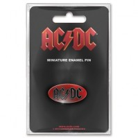 ACDC Minature Oval Metal Enamel Pin Badge Brooch Red Band Music Official