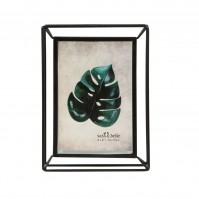 Metal Photo Frame Standing Picture Decor Geometric Black Wire Clear Glass Modern