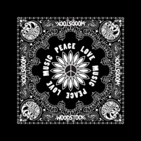 Woodstock Peace Love & Music Official Black Bandana Rock Band Music Kerchief Head