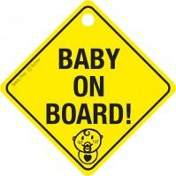 "Car Window Sign ""Baby On Board"" With Suction Cup Yellow Black Child Safety"