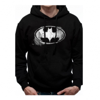 Batman Distressed Logo Official Black Unisex Hooded Sweatshirt Hoodie Mens Womens